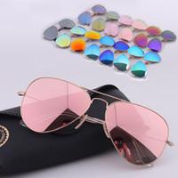 achat en gros de lunettes de soleil aviateur pour hommes-Dikley marque designer Hot Vente aviator miroir lunettes pilote pour hommes femmes UV protéger lunettes de soleil avec boîte en cuir original 12 couleurs