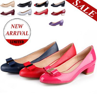 ballerina pumps - H88 big size wedding lady shoes with bowtie ballerina classical style square heel women colors short pump