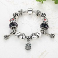 Cheap Fashion Jewelry Enamel Silver Bracelet European Murano Glass Beads Crystal Heart Charm Bracelet Bangle for Women ps3204