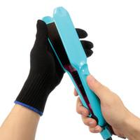 Wholesale 1x moderno profesional resistente al calor guante de pelo que labra la herramienta para Curling recta plana de hierro negro