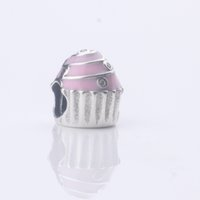 Wholesale Fits For European Pandora Bracelets Sterling Silver Charms Pink Enamel Birthday Cake Beads with Logo Women Jewelry Christmas Gift