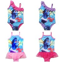 Wholesale Finding Dory Bikini Swimwear For Baby Girls Swimsuit Cute Cartoon Print Sling Lace TUTU One piece Bathing Suit