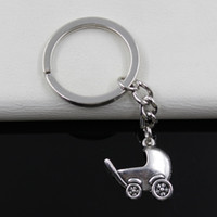 antique baby rings - Fashion diameter mm Key Ring Metal Key Chain Keychain Jewelry Antique Silver Plated baby carriage buggy pram mm Pendant
