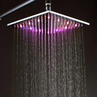 Cheap 10 Inch 250*250*10mm LED Lighted Rain Shower Head,Overhead Shower