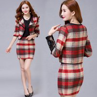 Wholesale Women Blazer and Skirt Set Bodycon Pencil Winter Work Office Skirt Suits Plaid Checked Elegant Two Piece Formal Party Wear