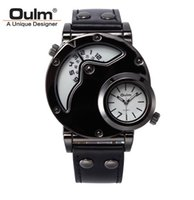 big mens dual watches - Genuine OULM mens watches Brand Luxury designer clock big round dial dual timezone double machine core sport recreation