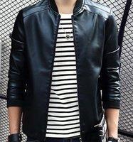 Wholesale Slim Korean men s leather motorcycle jacket collar Autumn and winter leisure leather jacket pu leather jacket tide thin