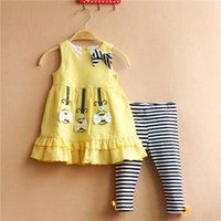 100% cotton suit - Girl Dress Baby Suit Child Clothes Toddler Clothing Ruffle Princess Dresses Summer Leggings Children Set Kids Suit Outfits Ciao C23104