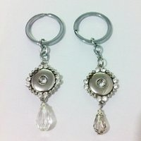 Wholesale 12pcs Fashion alloy crystal water drop noosa chunks metal ginger snap button keychain fit mm button snaps keyring for men jewelry