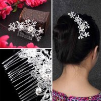 Wholesale Floral Wedding Tiara Sparkling Silver Plated Crystal simulated pearl Bridal Hair Combs Hairpin Jewelry Hair Accessories