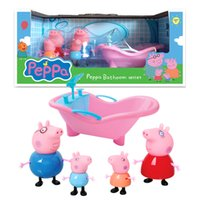 bathtub decoration - Zorn Peppa Pink Pig Family Pack style Bathtub toy cartoon Plastic doll play house toy Decoration toys for the children Christmas Gifts