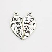 antiques wanted - 10sets Antique Silver Plated Heart Don t Forget me I want you Charm Pendants for Jewelry Making DIY Handmade Craft x25mm
