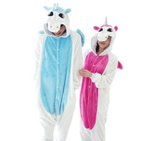 Wholesale New Flannel Blue Pink Unicorn Pijama Cartoon Cosplay Adult Unisex Homewear Onesies for adults animal Pajamas Men Women pajama unicornio