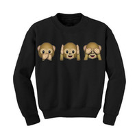 Wholesale Women Autumn Hoodies Long Sleeve O Neck Monkey Patterns Women Sweatshirt D emoji printed Women Clothing Fleece Hoodie Size M XL