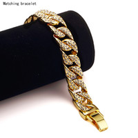 24k solid gold ring - Heavy Extra coarse K Solid Gold MIAMI CUBAN LINK Exaggerated Shiny Full Diamond Bracelet Hip Hop Bling Jewelry Hipster Men Wristband