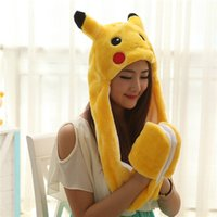 best military gloves - Poke Go Pikachu Plush Hat With Gloves Cosplay Cap Long Ear flap Lovely Warm Hat Gloves Hollween Christmas Best Gift
