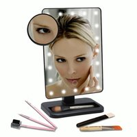 Wholesale Adjustable Vanity Tabletop Lamp LEDs Lighted LED Touch Screen Mirror Makeup Portable Mirror Rotating Mirror