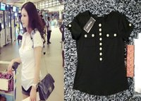 Wholesale 2016 Womens Balmain Cotton T Shirts Girls Slim Tshirts BALMAIN SIZE S M L