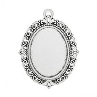 antique oval picture frame - 10 Antique Silver Oval Flower Frame Beads Settings x29mm Findings fit mm x mm picture cameo Mr Jewelry