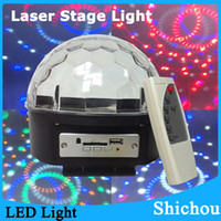 Wholesale RGB LED Mini Stage Laser Lighting Crystal Magic Ball Light For DJ Disco Birthday Christmas Party with remote Control MP3 Player