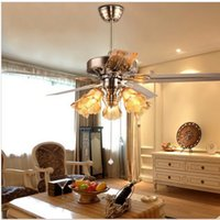 antique ceiling fans with lights - Stylish European Antique Ceiling Fan With Light Restaurant Living Room Lamp inch Stainless Steel With Wood Blades Fan