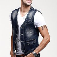 Wholesale 2016 Fashion denim jean vest for men Brand design V neck Casual men vest ski slim sportwear fleece man