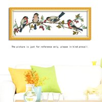 Cheap DIY Handmade Needlework Cross Stitch Set Embroidery Kit Precise Printed Bullfinches Pattern Cross-Stitching 68 * 26cm Home Decor
