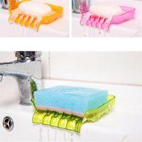 Wholesale New multicolor plastic soap box racks sucker draining Soap Dishes for kitchen Bathroom Shower Household items