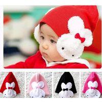 baps kids - Baby Cap Cartoon Rabbit Cotton infant kids Hats Children Warm Winter Hat with Ears Flap Animal Rabbit Crochet Beanies Bap M107