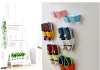 bathroom shelf storage - New Arrival Creative Wall Hanger Shoe Holder Hook Shelf Rack Storage Organizer Space Saving Sticker Included