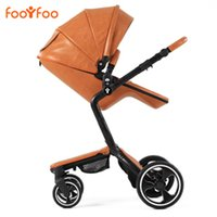 baby absorbers - Good Shock Absorbers Luxury Folding PU Leather Baby Strollers High View Didirectional Baby Carriage Baby Pram Baby By