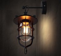 american dock - Nordic Creative Dock Wall Lamp American Industrial RH LOFT Retro Sconce Balcony Stairs Porch Light E27 Edison Bulb110 V