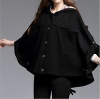 beautiful trench coat - Cloak Trench Coat For Women Batwing Sleeve Plus Size XL Roman Cotton Cappa Winter Comfortable Beautiful Fashionable Girls Black Coats BC1160