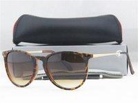 al por mayor gafas de sol baratas-Baratos de los hombres de marca Erika piloto gafas de sol de diseñador # T4171 Plaza de Sun del solsticio de cristal 5 colores + caja, tarjeta, caso