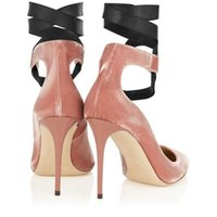 ballerina high heels - 2016 New Fashion Wedding Women Shoes Folck Leather Ballet Rose Velvet Ballerina Black Lace Up Round toe Layies Thin Heels pumps