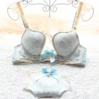 abc summer - 2015 New Arrival spring and summer Japanese blue lace lingerie W cup sexy bra set small bow bra and panty set plus size ABC cup