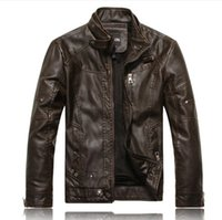 Wholesale 2016 New Spring Autumn Brand Leather Jacket Men Slim Short Stand Collar Jaqueta Couro Bomber Bike Jacket Faux Leather Coat Suede style opt