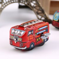Wholesale Retro Classic Firefighter Fire Engine Truck Clockwork Wind Up Tin Toys Hot Selling