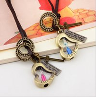 couples sweater - Retro Korean love Mini long paragraph sweater chain accessories leather pendant necklace hourglass couple time