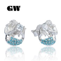 australian studs - 925 Sterlingsilver Mermaid Stud Earring Pave Blue Australian Crystal Brand Gw Jewelry For Women Wedding Party Er1038