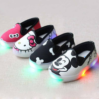 baby canvas shoe - New Design Toddler Kids Canvas Sneakers Led Shoes Lights Cartoon Print Casual Boys Luminous Sneakers Baby Girls Shoes Size