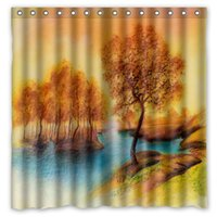 autumn shower curtains - Landscape River Trees Peace Autumn Design Shower Curtain Size x cm Custom Waterproof Polyester Fabric Bath Shower Curtains
