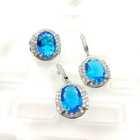 aqua emeralds - The new jewelry day blue fashion beauty set for women silver necklaces wear earrings ring size free jewelry boxes