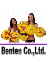 Wholesale 2016 Newest inches Emoji PVC Inflatable Beach Balls Inflatable Ball Pool Outdoor Play Beach Toys LLFA