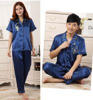 Wholesale New Arrival Unisex Faux Silk Kimono Robe Bath Gown Chinese Men Long Sleepwear V Neck Printed Pijamas Plus Size XXXL SM002
