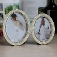 Wholesale 6Inch Oval Pearl Rhinestone Wedding Photo Frames Alloy Home Decor Bridal Baby Shower Favor Frames Gifts