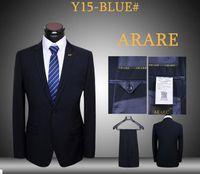 Wholesale Brand New Mens latest coat and pants business suits piece blue uniform dressing blazers daily suits set one button slim fit tuxedos