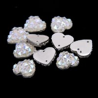 Wholesale 14mm Sew On Resin Rhinestones With Two Holes AB Colors Heart Shape Flatback Beads DIY Sewing Craft Garments Embellishment