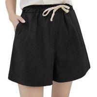 Wholesale shorts women women shorts summer style hot loose linen casual thin mid black White plus size S XL short feminino