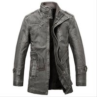 Wholesale Fall Best Seller leather jacket Genuine Leather Mandarin Collar Sheepskin Coat male Leather jacket men mens leather jackets and coats